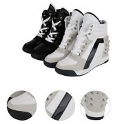 Leather Sneakers Shoes Athletic Trainers Ahtletic Hidden Ladies Creeper