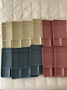 Lot Of 12 Tupperware Divided Trays Vintage Camping Cafeteria Pink Blue Almond