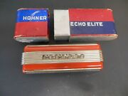 Vintage Hohner Echo Elite Red Art Deco C And G Key Harmonica With Box
