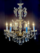 Antique Vintage French Crystal Macaroni Beaded Chandelier 6 Light