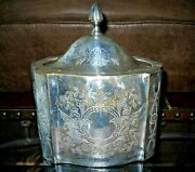 Antique Silver Plated Floral Design Tea Container/canister Curvy Oval Shape