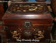 18 Rosewood Inlay Shell Palace Dragon Loong Drawer Treasure Jewelry Box Chest