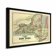 1875 New York Map - Framed Vintage Map Of New York Wall Art Poster Print