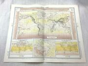 1899 Antique Map Of World Meteorology Weather Isobars Chart Climate Air Pressure