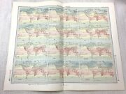 1899 Antique Map Of World Isotherms Chart Meteorology Meteorological Climate