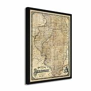 1861 Illinois State Map - Framed Vintage Map Of Illinois Wall Art Poster Print
