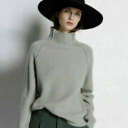 Womens Warm Turtleneck Knitted Pullover Long Sleeve Sweaters Loose Solid Jumpers