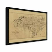 1808 State Map Of North Carolina - Framed Vintage Map Of Nc Wall Art Poster