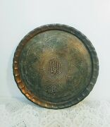 Antique Vtg Middle Eastern Brass Tray, Wall Hanger Arabic Calligraphy, Etched