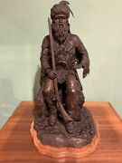 Amazing Western Bronze Sculpture Mountain Man By George 50 Years Old Aob Proof