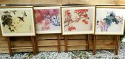 Vintage Set Of 4 Tv Trays With Stands Caddy, Flowers And Birds Oriental Signatures