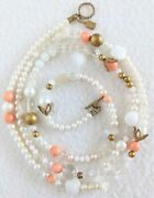 Rare Signed Tat2 Designs Pearl Stone Crystal Pink Coral 925 39 Long Necklace