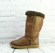 Ugg Australia Womenand039s Brown Gold Leather Classic Tall Winter Boots Size 7