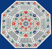 Marble Coffee Table Top Inlay Floral Design Patio Table For Lawn Decor 30 Inches