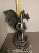 Dragon Red/gr/bl Crystal Dragon With Sword Letter Opener Figure Statue H 10