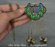16.4 Old Chinese Silver Inlay Jade Beast Face Small Bell Lock Jewelry Pendant A