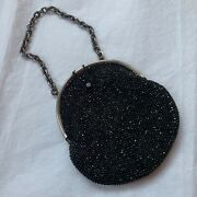 Antique Beaded Purse Bag Black Glass Beads Evening Bag Small Chain Handle