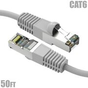 50ft Cat6 Rj45 Ethernet Lan Network Sstp Shielded Patch Cable Copper 26awg Gray
