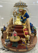1991 Disney Beauty And The Beast Musical Snow Globe Fireplace Lights Up Vintage