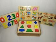4 Vtg Wooden Puzzle Lot Animals Numbers Shapes Wooden Holder Box Wood N Things