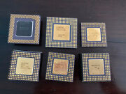 Lot Of 6 Intel Cpuand039s For Scrap Gold Recovery Pentium I486 Dx-2