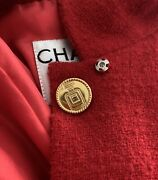 Vintage Red Wool Jacket N5 Factory Perfume Bottle Buttons Fr 40 Cc 1990s