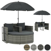 Garden Sofa Bed With Parasol Poly Rattan Wicker Lounge Sun Day Bed Outdoor Pool