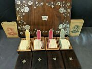 Antique Gambling Whist Set In Mother Of Pearl Marquetry Box Nelson's Victory Cli