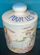 Rare Coin Slot Bank Pour Les Vacances Hand Painted French Vacation Scenes Signed