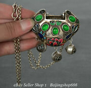 14.4 Old Chinese Silver Inlay Jade Flower Small Bell Lock Jewelry Pendant A