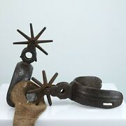 C.1870 Antique Mexican Spurs Engraved Design Hand Forged