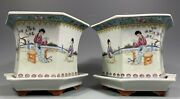 Pair China Chinese Famille Rose Porcelain Planters W/ Underplates Qianlong Mark