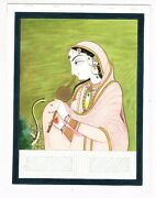 Handmade Indian Miniature Old Painting Of Lady Snake Charmer Fine Art On Paper