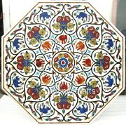 Marble Dining Table Top Multi Color Stones Inlaid Patio Table For Lawn 36 Inches