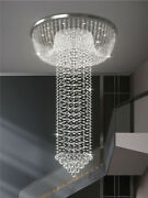 Remote Dimming Led Crystal Chandelier Living Room Lobby Stair Spiral Light Lamp
