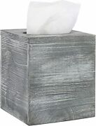 Vintage Gray Washed Wood Square Tissue Box Cover With Slide-out Bottom Panel