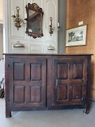 Antique Rustic French Country Louis Xiv Hardwood Two Door Storage Cupboard