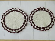 New 2 Hand Crocheted Yarn Round Table Doilies 11andrdquo White/maroon