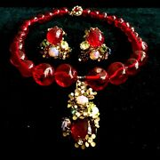 Vintage Signed Miriam Haskell Red Gripoix Glass Beads Necklace Earrings Set