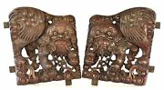Large Pair Of Antique Chinese Wood Carving / Carved Panel W Foo Dog, 19th C
