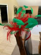 Fascinator Headband W/feathers Red And Green Mardi Gras Christmas Party