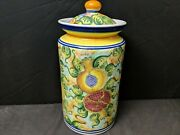 13.5 Skyros Pomegranate Canister Large Size Discontinued Hand Painted