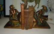 Antique Native American Scout Metal Bookends