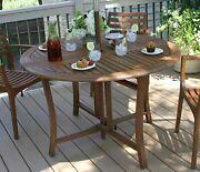Large Outdoor Table Eucalyptus 48 Inch Round Folding Deck Patio Space Saver New