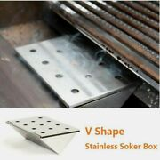 Stainless Steel Bbqsmoker Box Gas Grill V-shaped Wood Chipsdurable Outdoor New