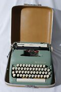 Vintage Smith Corona Sterling Portable Typewriter Green Teal With Case
