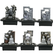 """10.6"""" Garden Ornament Water Fountain Home Office Indoor Table Top Buddha + Light"""