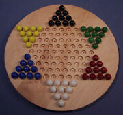The Puzzle-man Toys W-1931 Wooden Marble Game Board - Chinese Checkers Oiled 18