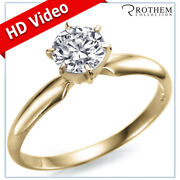 0.91 Ct Round Solitaire Diamond Engagement Ring H Si1 18k Yellow Gold 52356579