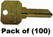 100 Key Blanks For Locksmith Sc1 Do Not Duplicate Key/ Made In Usa By Ilco